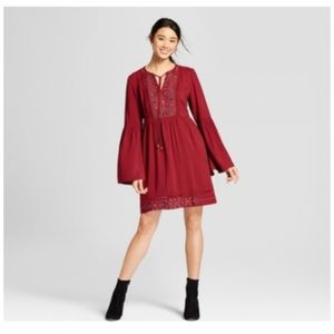 Knox rose split sleeve red dress